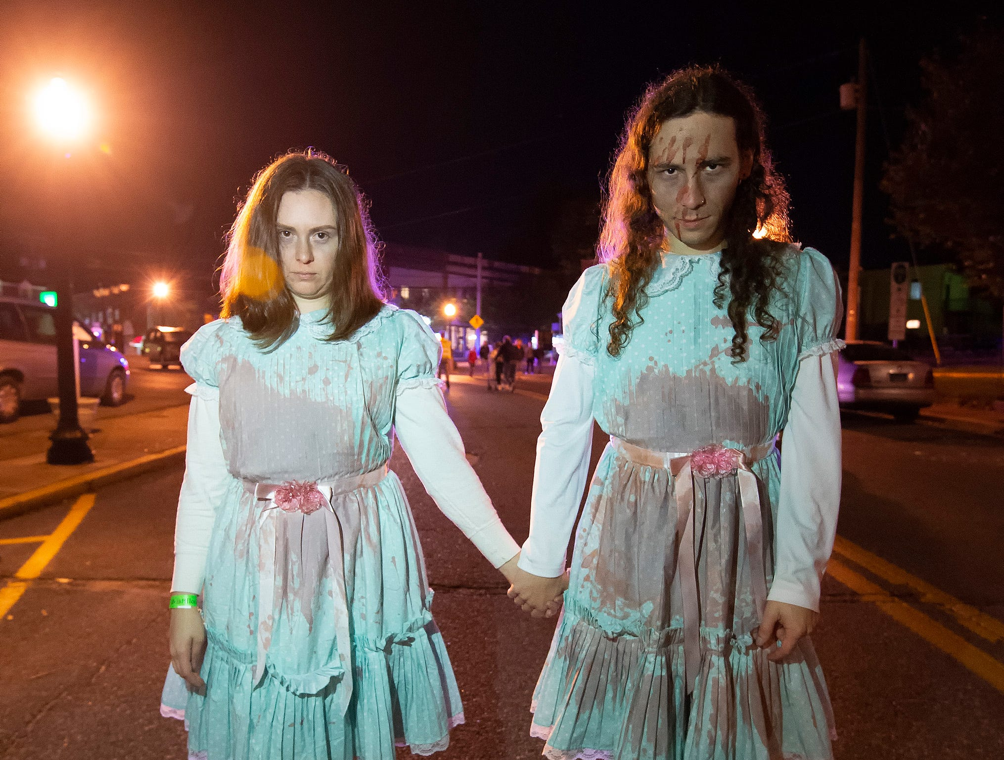 Jess and David Rushman of Wilmington dressed as the Grady Twins from the movie The Shining at the Milton Zombie Fest 2018 in downtown Milton.