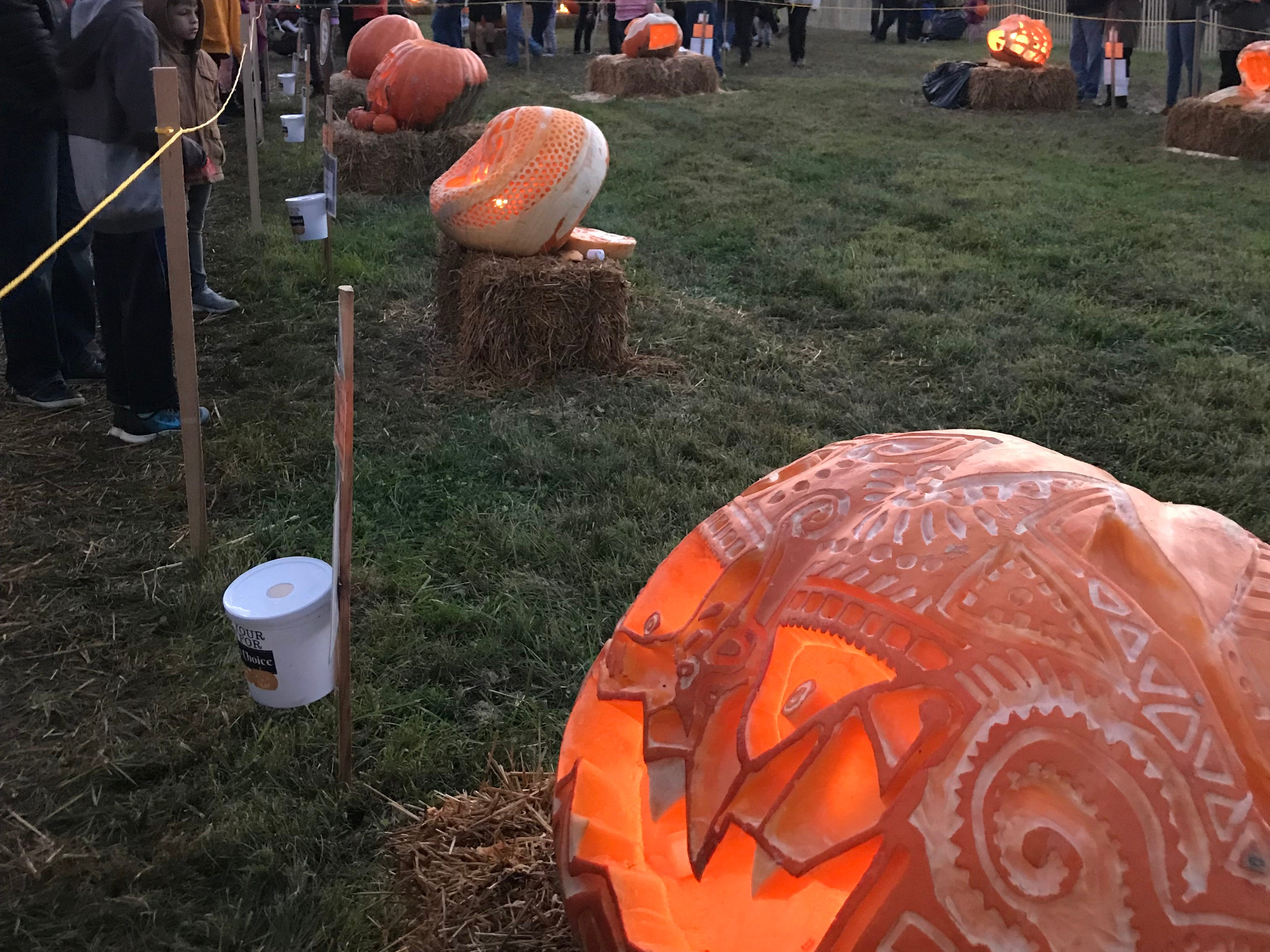 A sugar skull pumpkin carved Brittany Wagner and Kevin Simmons was a favorite at the 2018 Great Pumpkin Carve in Chadds Ford, Pennsylvania.