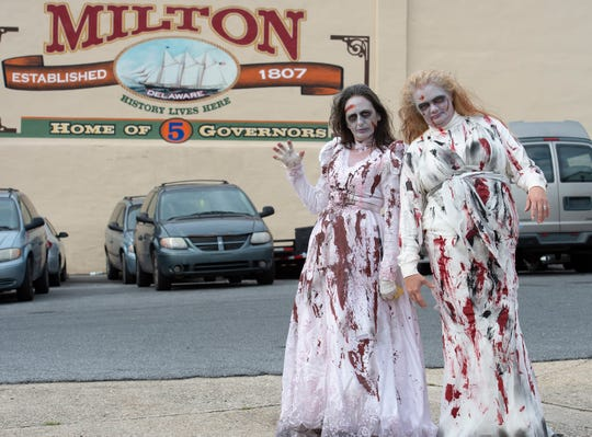 Laurie Ficili, left, of Millsboro and Alicia Mayer of Millsboro dressed up for Milton Zombie Fest in October 2018.