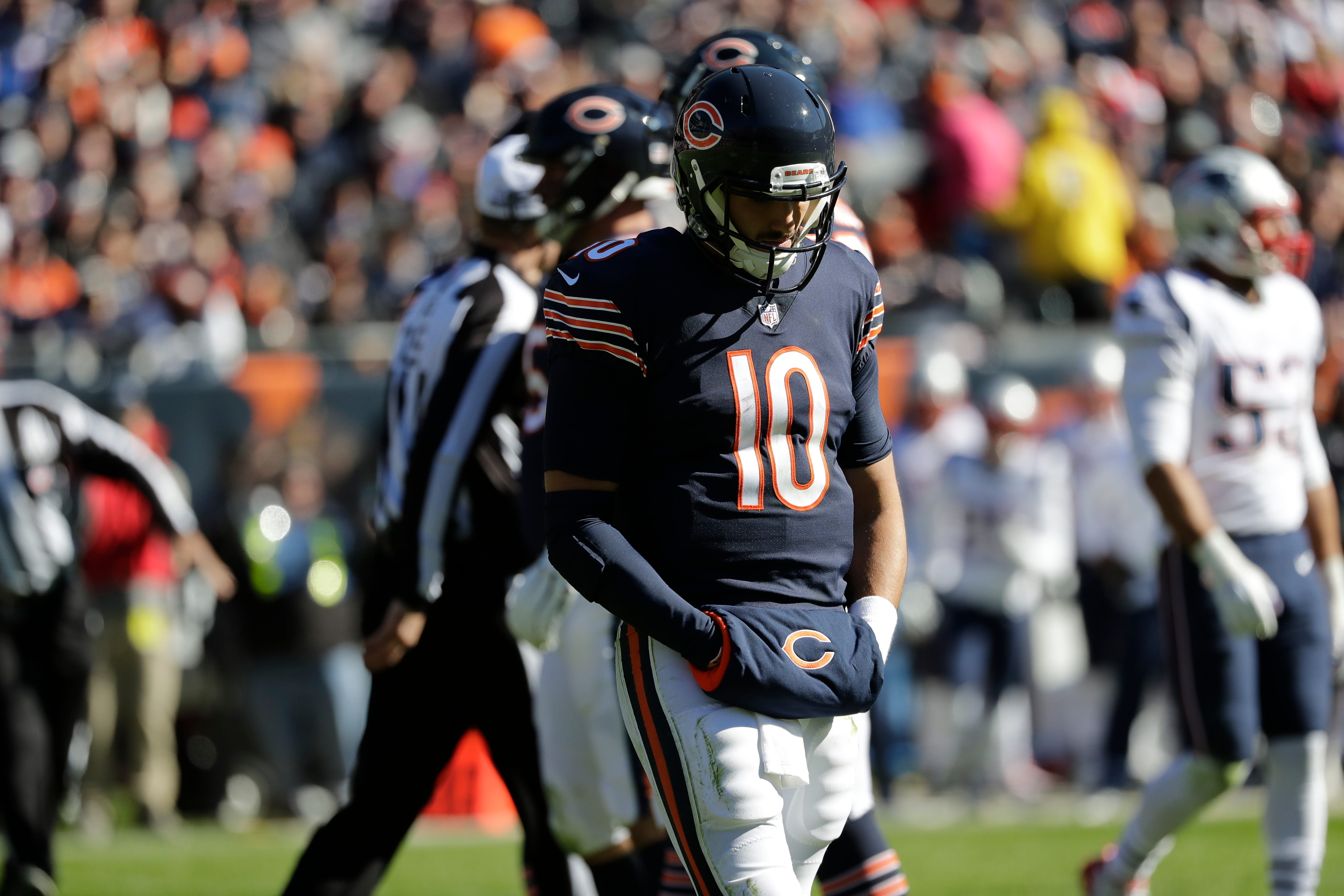 Bears' Hail Mary comes up 1 yard short as Patriots hang on for win