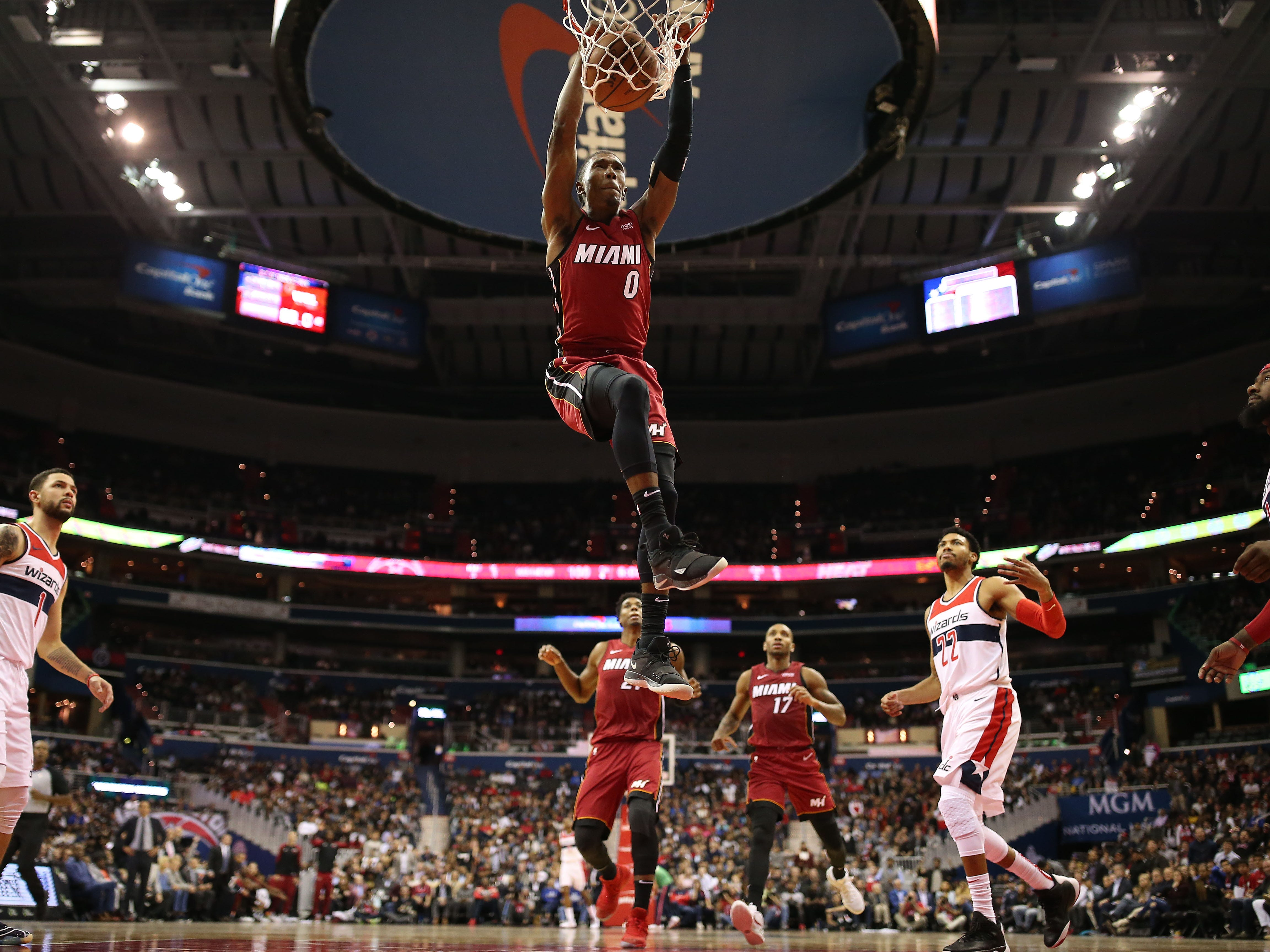 Oct. 18: Miami Heat forward Josh Richardson dunks the ball against the Washington Wizards in the second half at Capital One Arena.