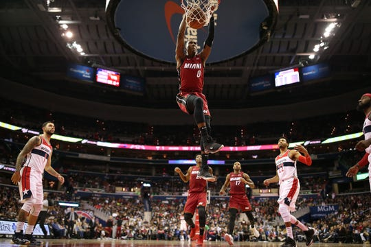 Heat guard Josh Richardson dunks against the Wizards earlier this season.