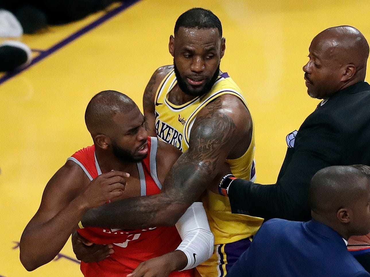 James' home debut with the Lakers took a chaotic turn when a wild brawl erupted against Chris Paul and the Rockets.
