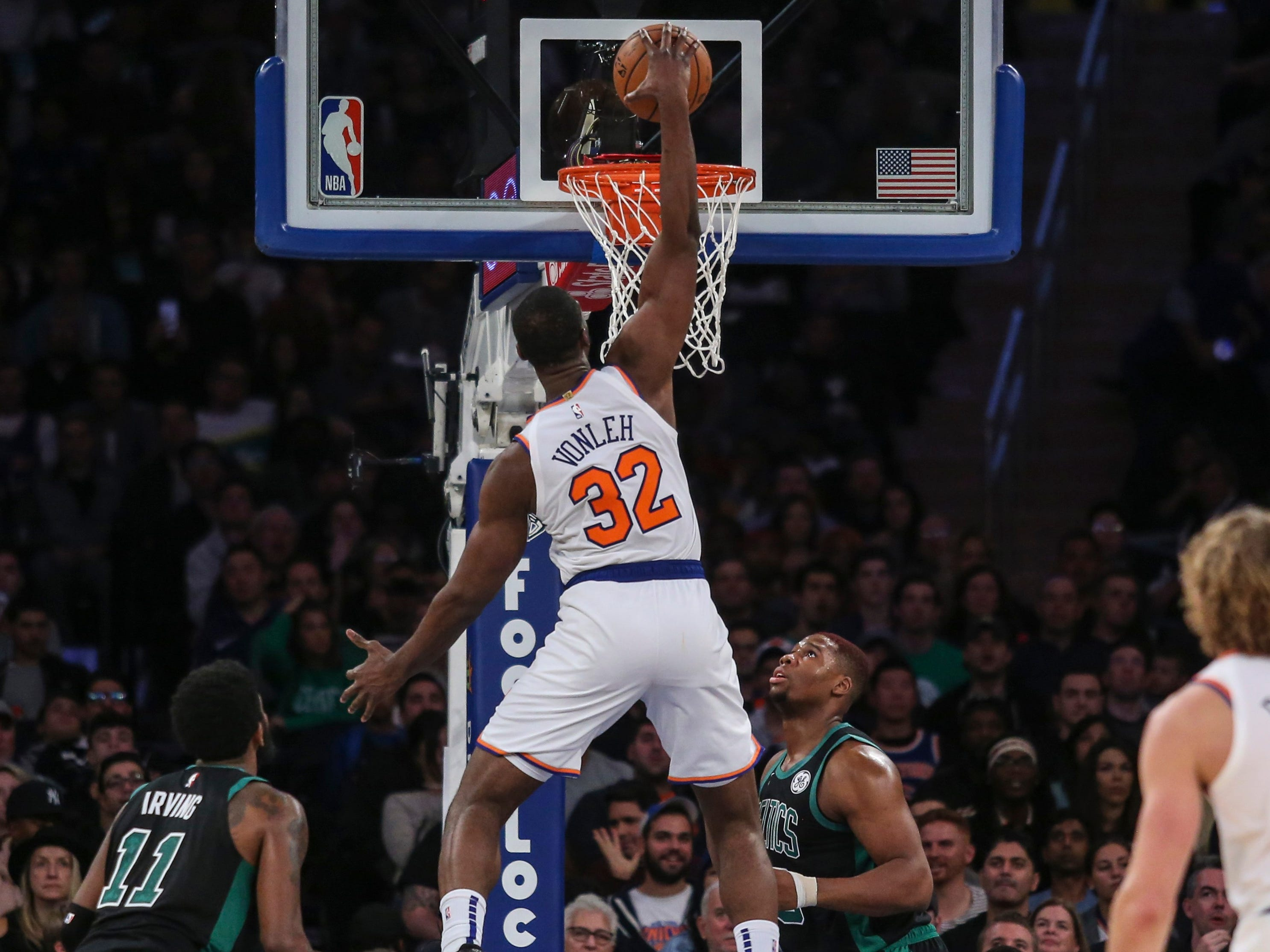 Oct. 20: Knicks forward Noah Vonleh (32) throws down a one-handed slam against the Celtics.