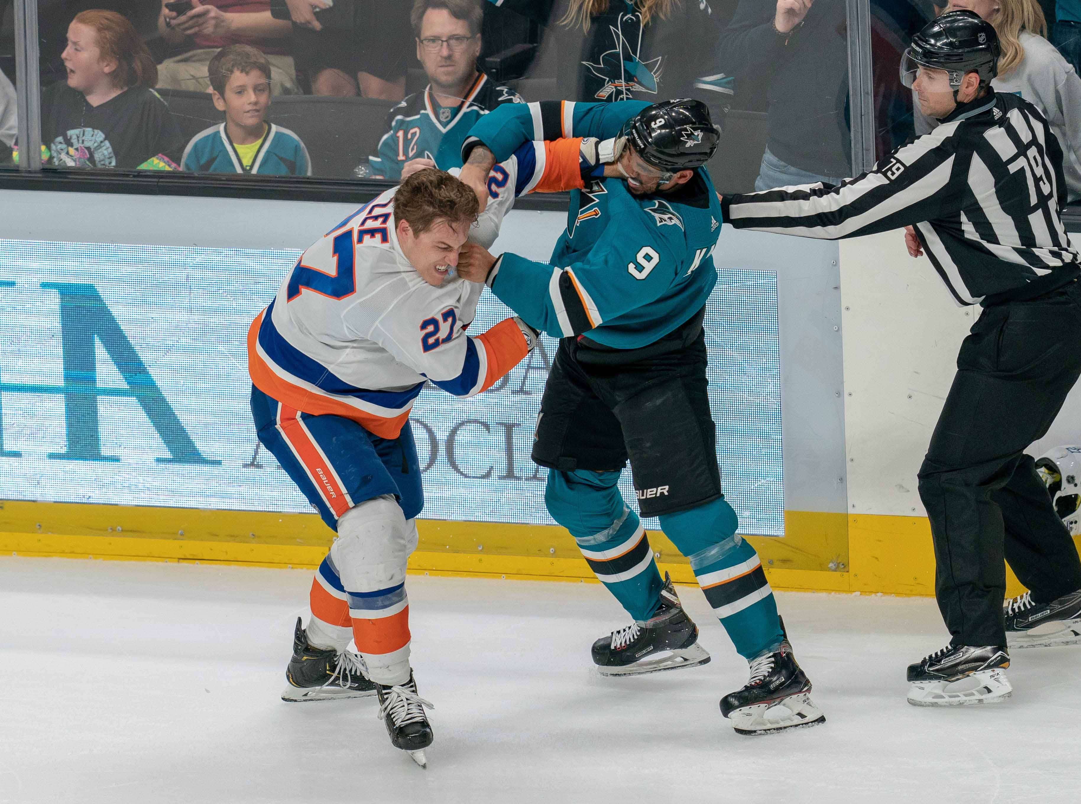 Oct. 20: New York Islanders' Anders Lee vs. San Jose Sharks' Evander Kane (9)