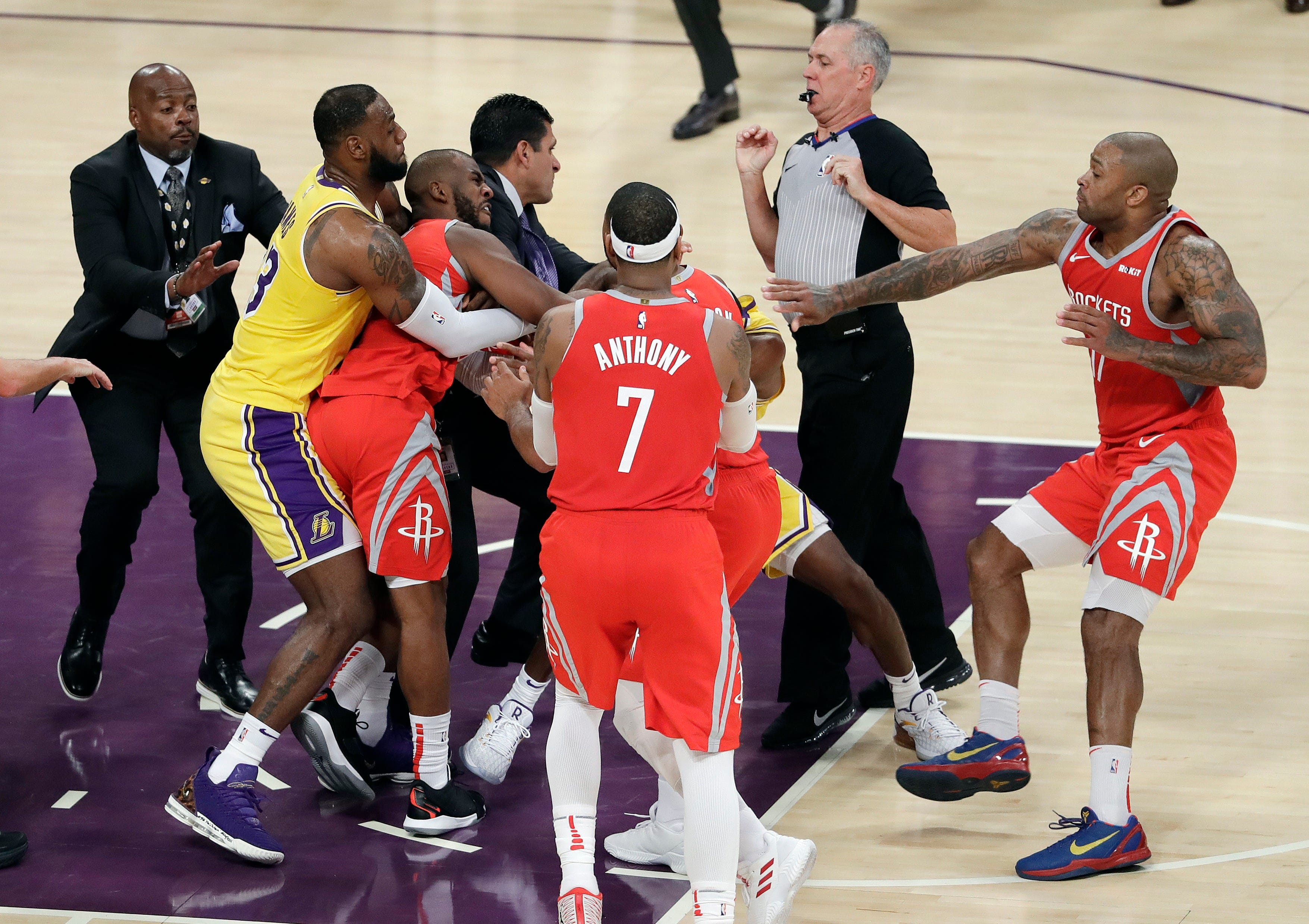 Wild brawl between Lakers and Rockets leads to three ejections
