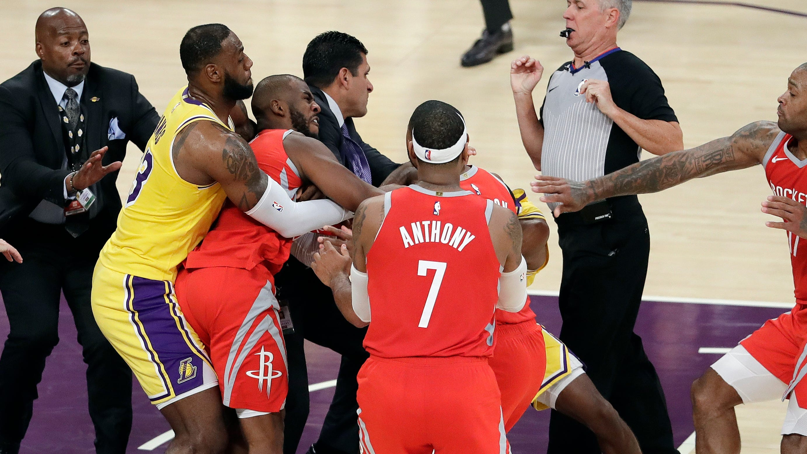 Chris Paul, Rajon Rondo and Brandon Ingram were ejected after the wild melee between the Lakers and Rockets.