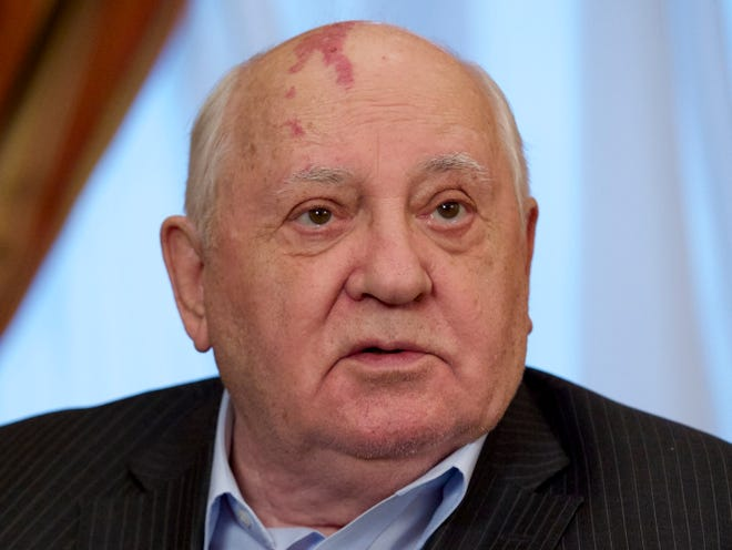 Former Soviet President Mikhail Gorbachev speaks to the Associated Press during an interview at his foundation's headquarters in Moscow, Russia on Dec. 9, 2016.