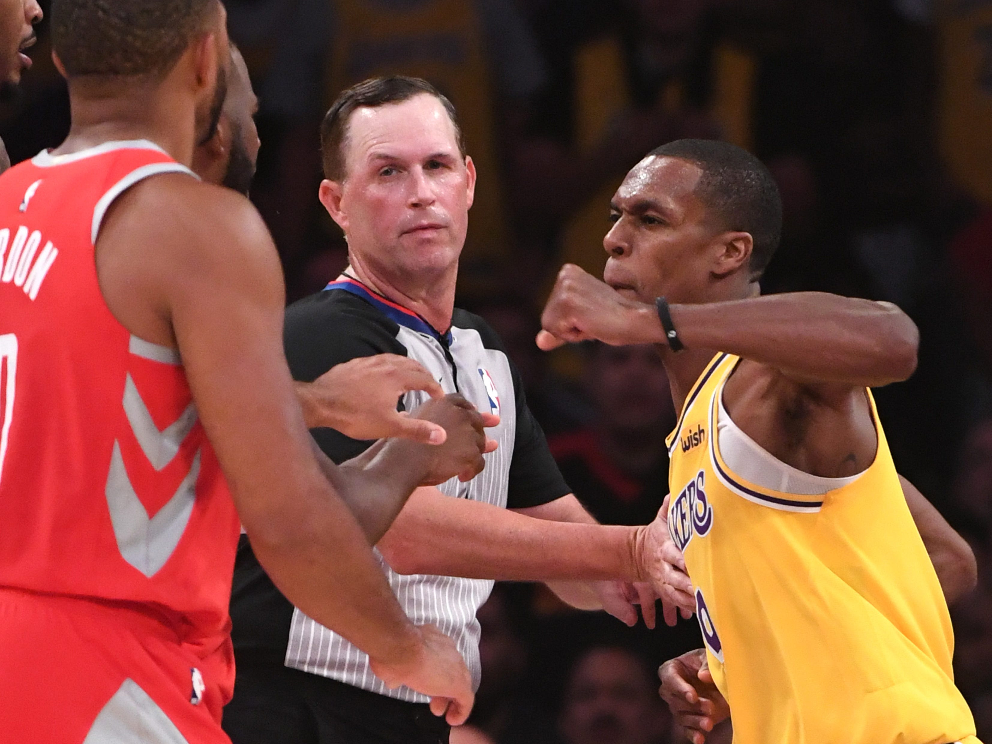 Oct. 20: Lakers guard Rajon Rondo throws a punch at Rockets guard Chris Paul during a wild fourth-quarter fracas at Staples Center.