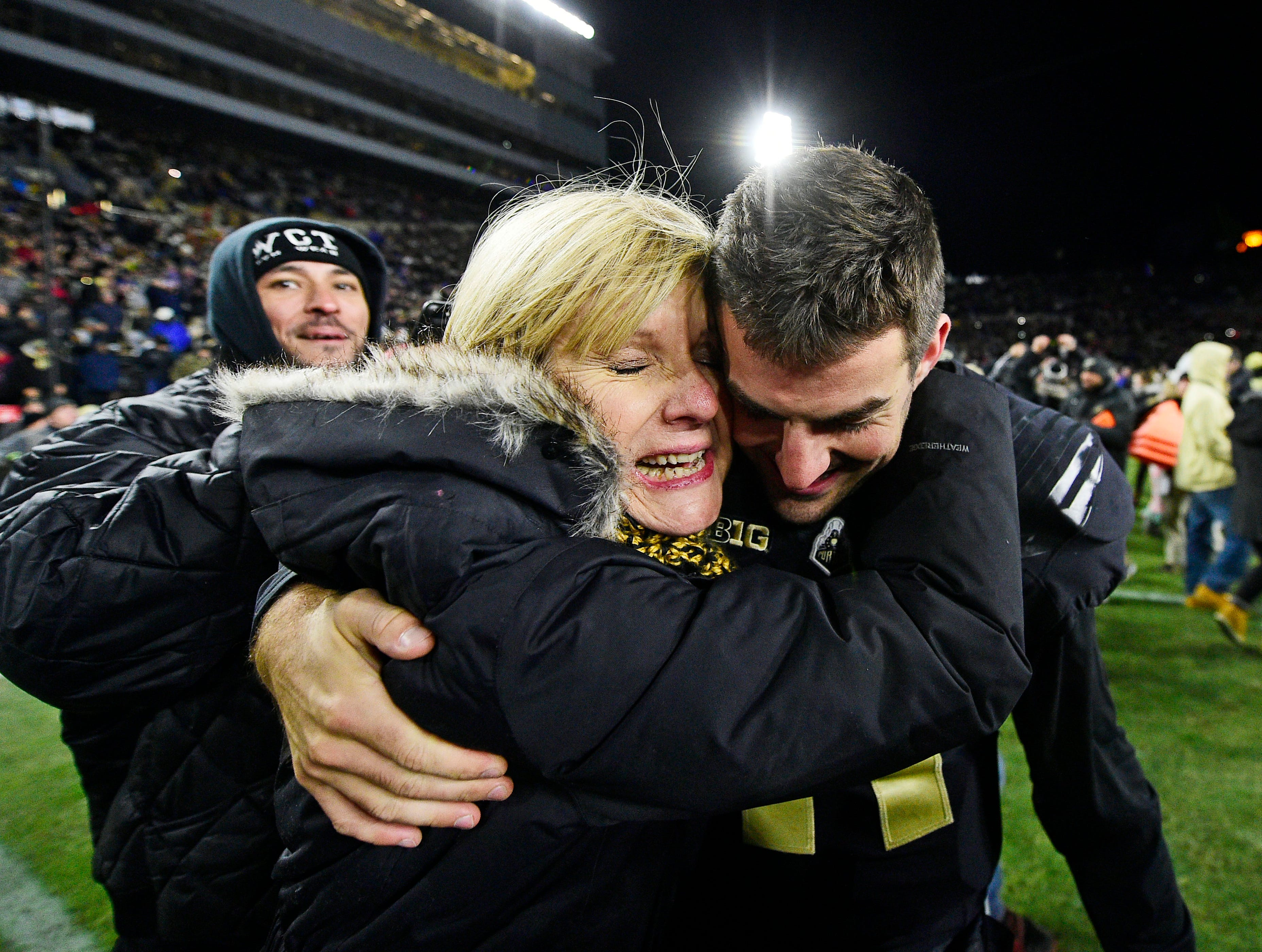 Purdue Boilermakers starting quarterback David Blough celebrates with his mother after a win over the Ohio State Buckeyes at Ross-Ade Stadium.