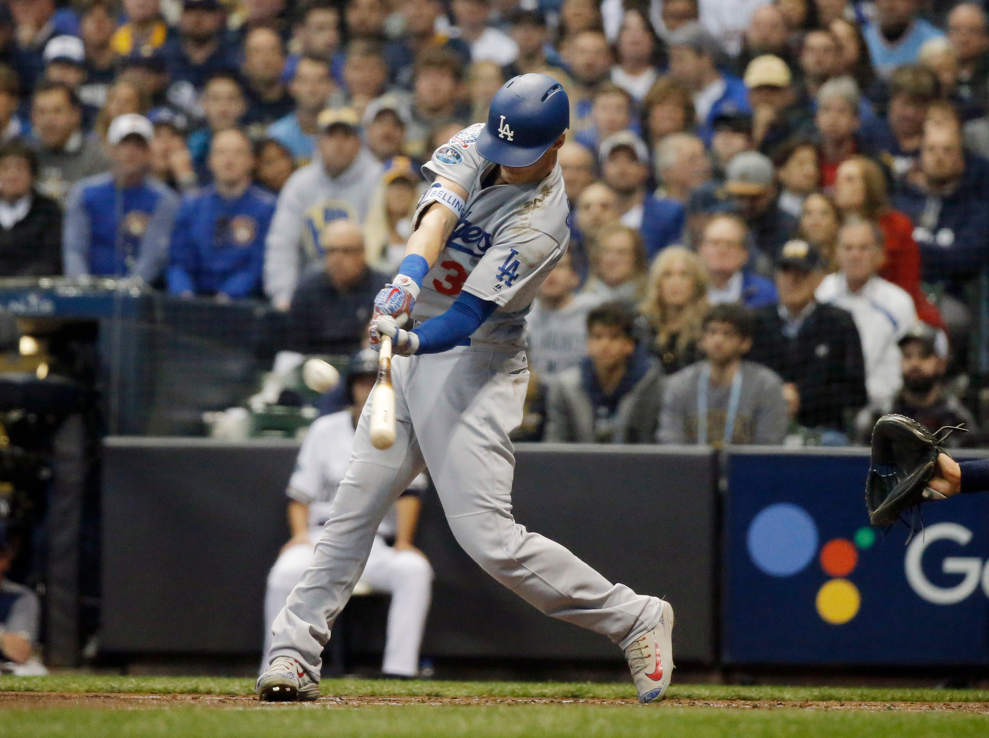 NLCS Game 7: Cody Bellinger hits a two-run homer in the second inning.