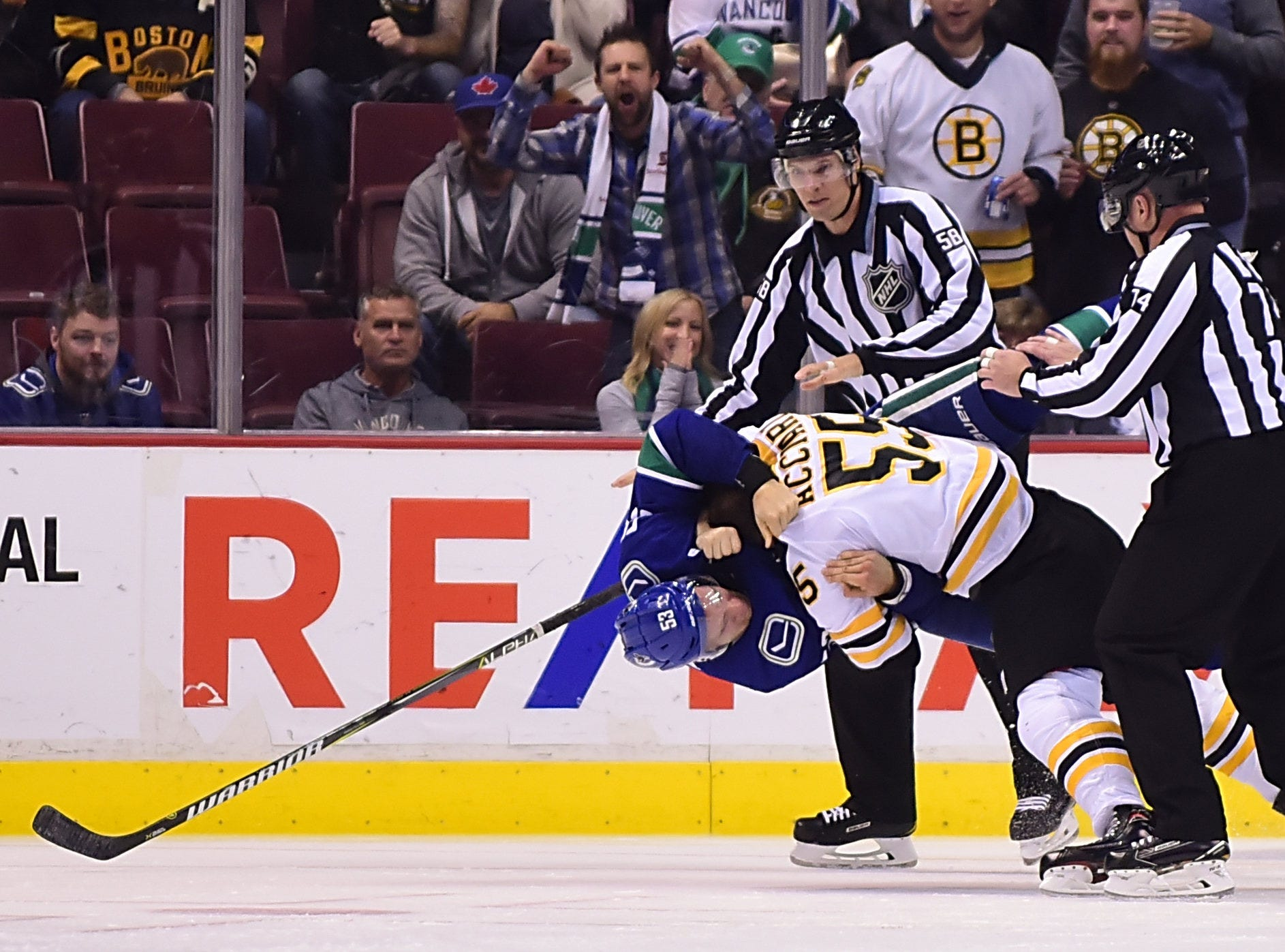 Oct. 20: Vancouver Canucks' Bo Horvat vs. Boston Bruins' Noel Acciari (55)