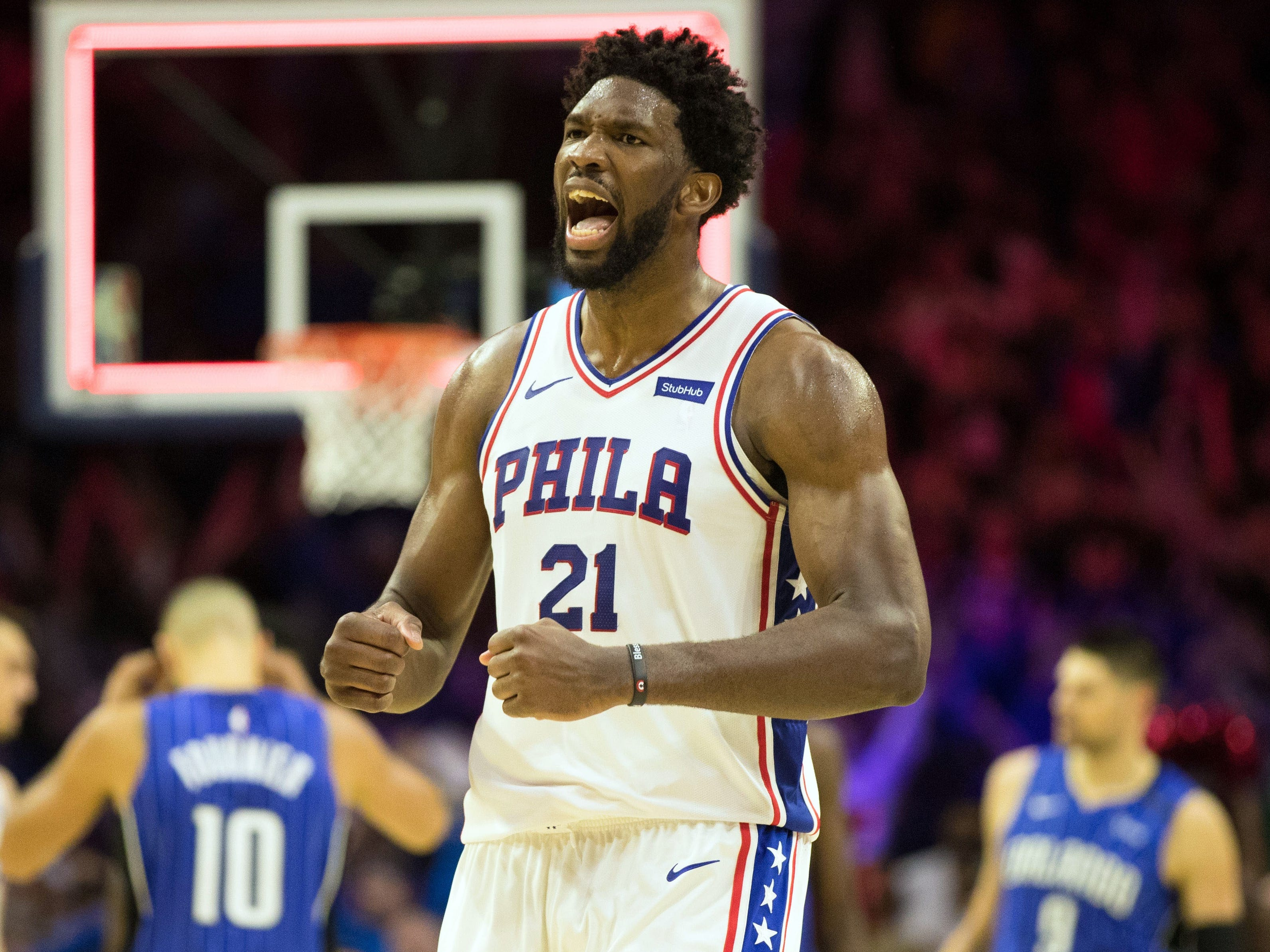 Oct. 20: Sixers center Joel Embiid was fired up after a win over the Magic.