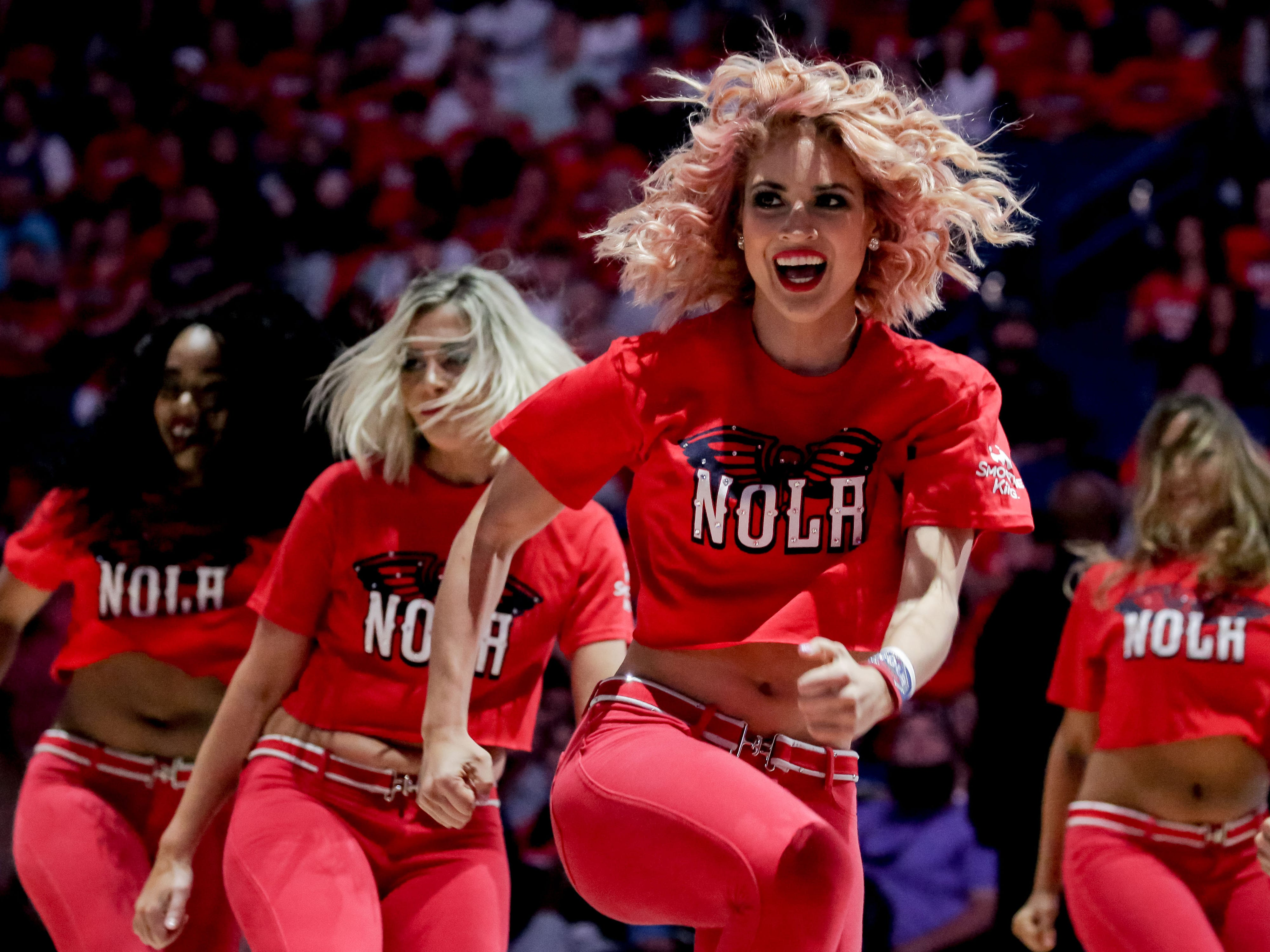 Oct. 19: New Orleans Pelicans dance team performs during the second quarter against the Sacramento Kings at the Smoothie King Center.