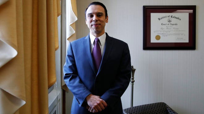 Roger Severino, director of the Office for Civil Rights, poses for a portrait, Feb. 1, 2018, at the office of Health and Human Services in Washington.
