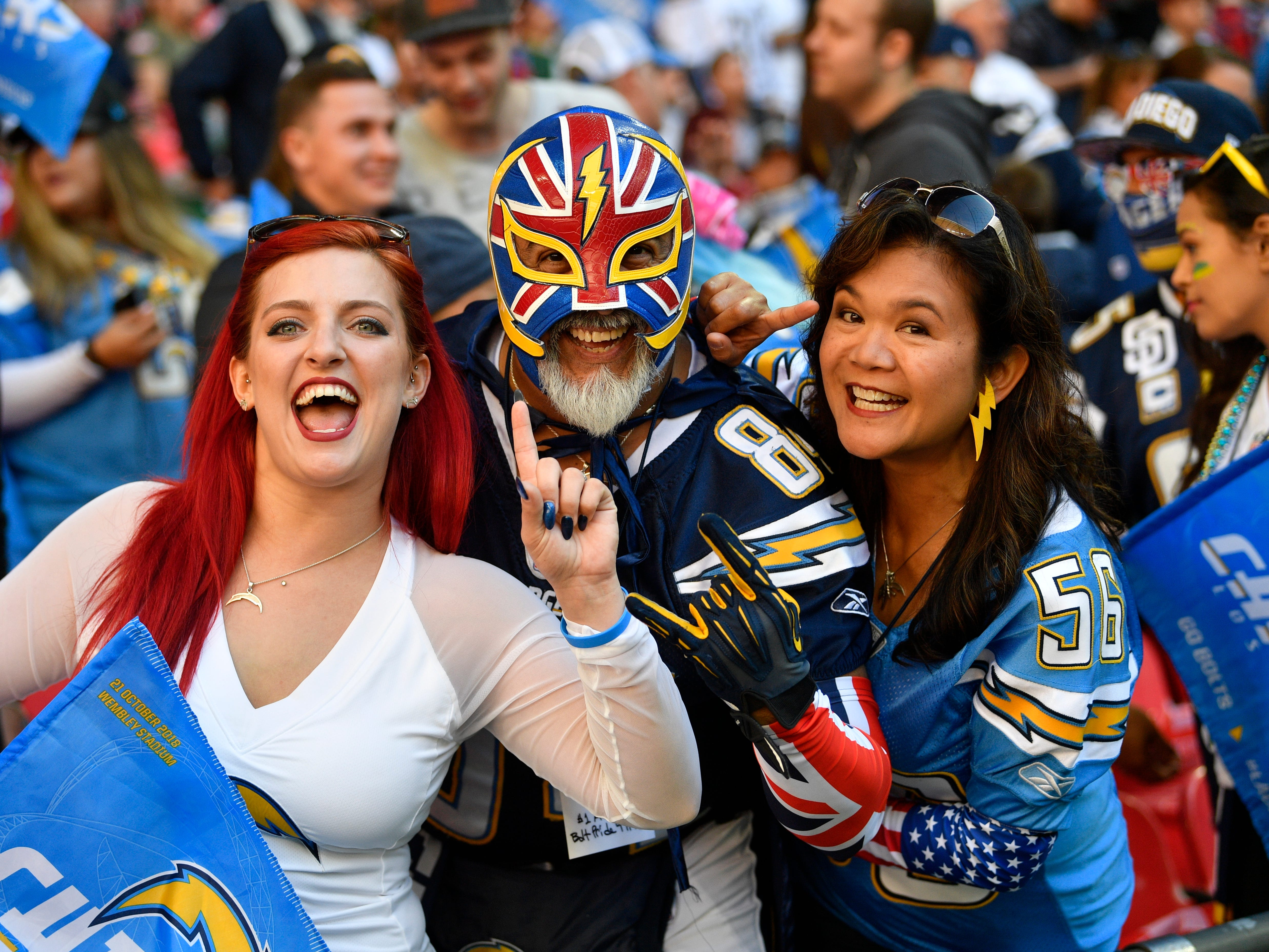 Chargers fans before the NFL game between Tennesse Titans and LA Chargers at Wembley Stadium in London, Britain, 21 October 2018.