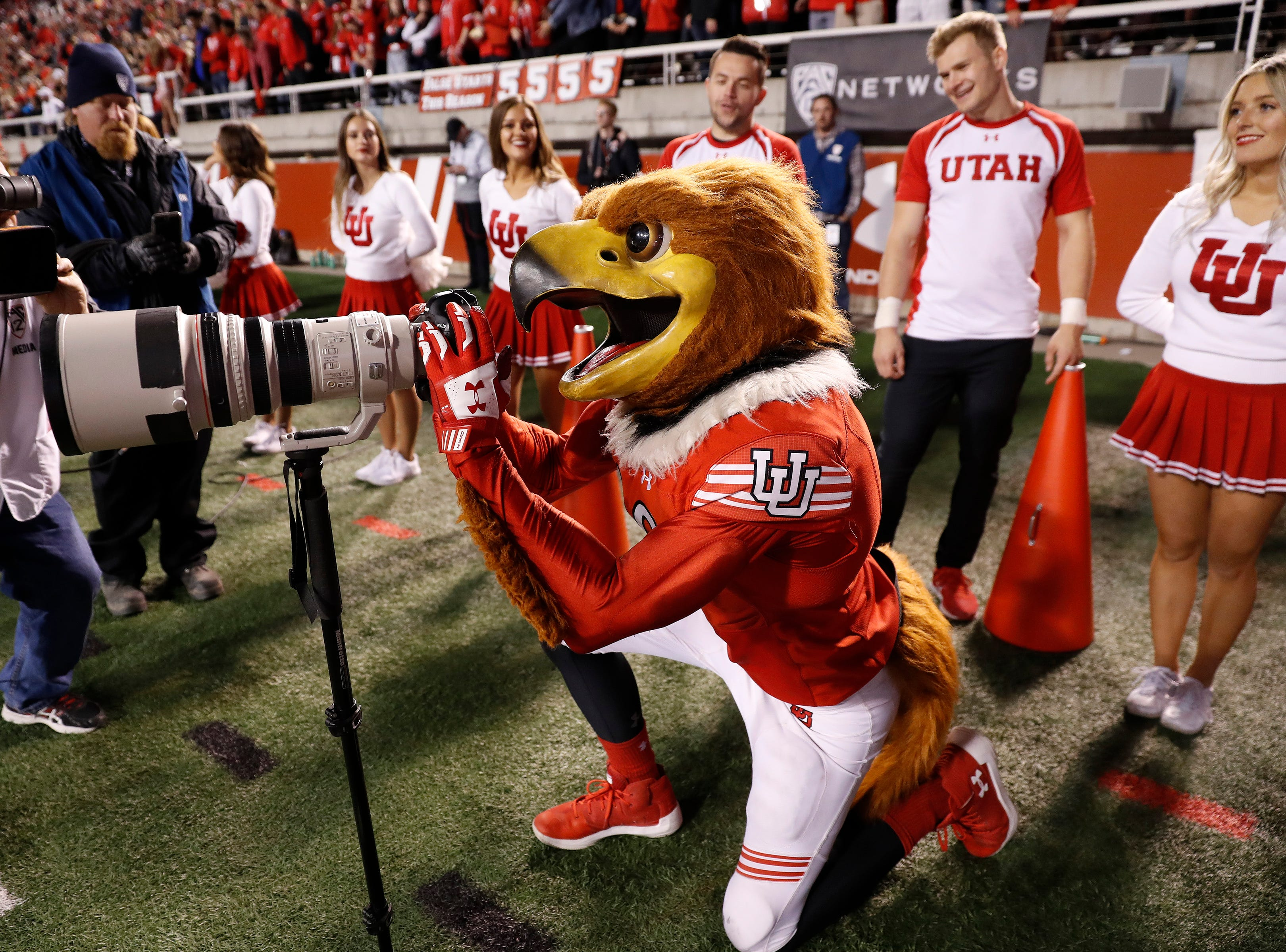 Week 8: Utah Utes mascot Swoop took control of a camera for a play in the fourth quarter against the USC Trojans at Rice-Eccles Stadium.