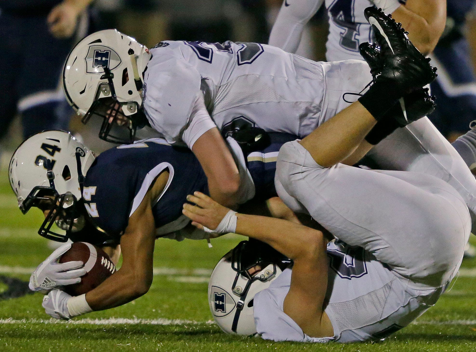 Ian Laatsch of Appleton North carries the ball against Hudson in a WIAA Division 1 football playoff game Friday, October 19, 2018, at Paul Engen Field in Appleton, Wis.