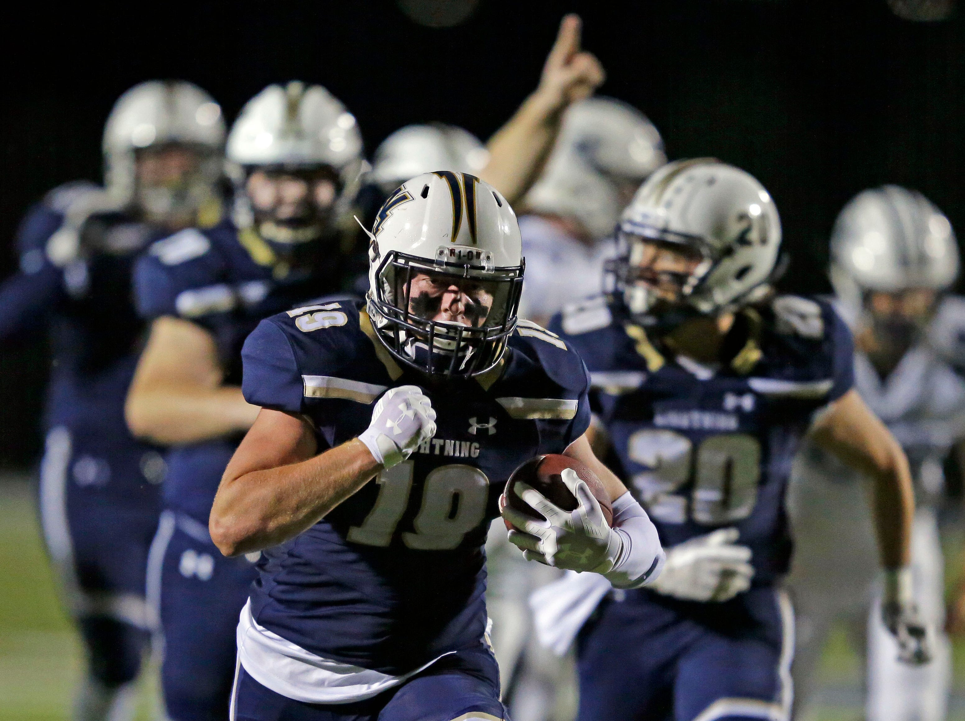 Ryan Balck of Appleton North heads for the end zone against Hudson in a WIAA Division 1 football playoff game Friday, October 19, 2018, at Paul Engen Field in Appleton, Wis.