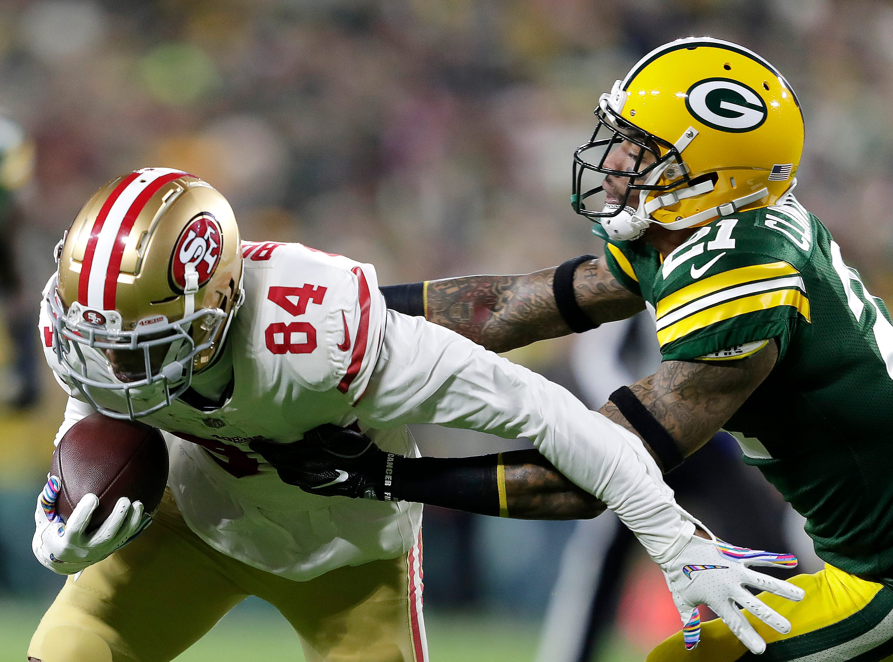 Green Bay Packers free safety Ha Ha Clinton-Dix against San Francisco 49ers wide receiver Kendrick Bourne on Monday, October 15, 2018, at Lambeau Field in Green Bay, Wis. The Packers defeated the 49ers 33 to 30.