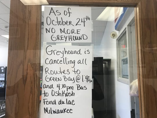 Signs are posted at the downtown Appleton bus station alerting riders to the end of Greyhound service in northeast Wisconsin.