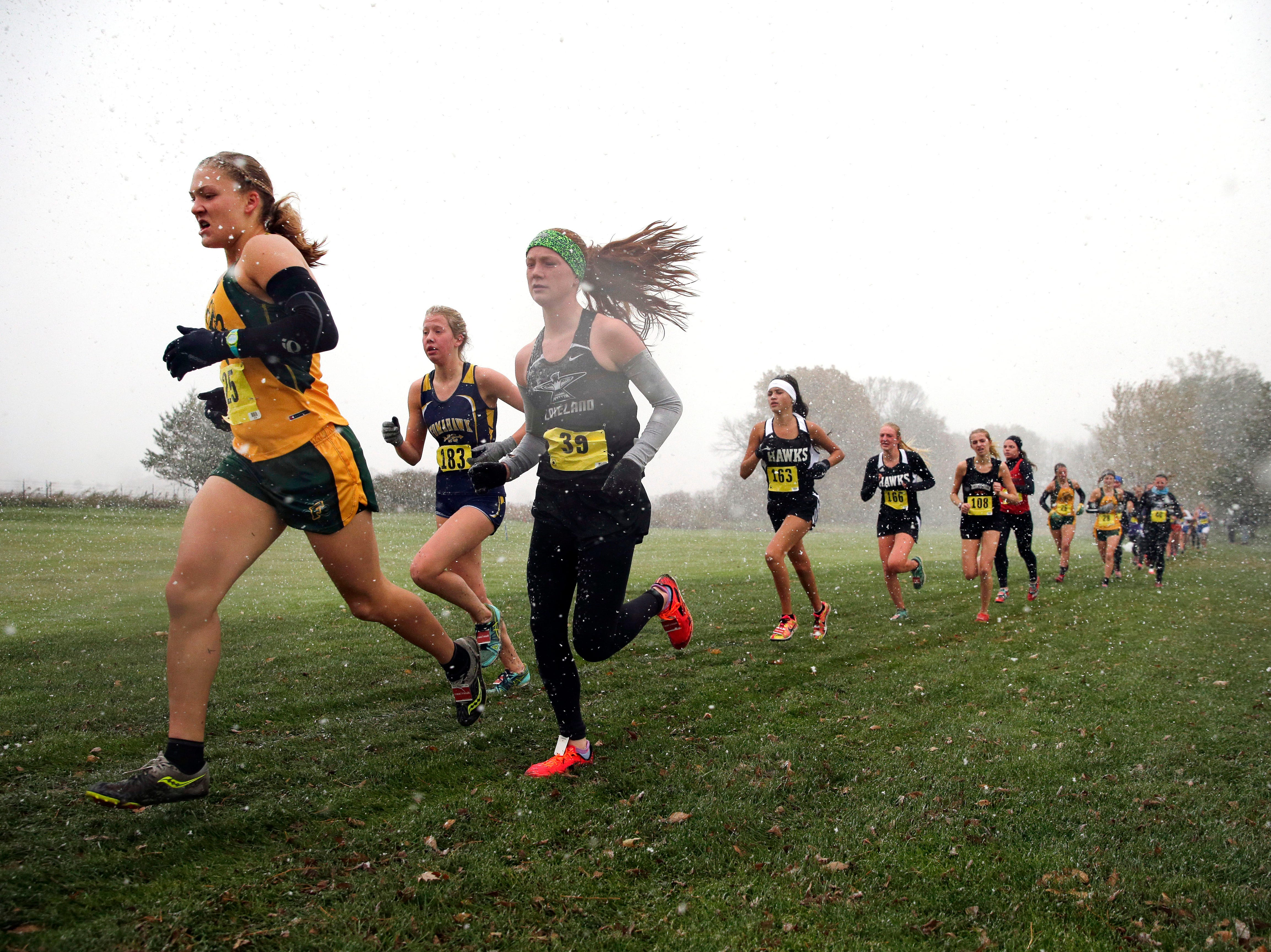 Gabby Johnson of Freedom runs during the WIAA Division 2 Freedom cross country sectional Saturday, October 20, 2018, at Irish Waters Golf Course in Freedom, Wis.