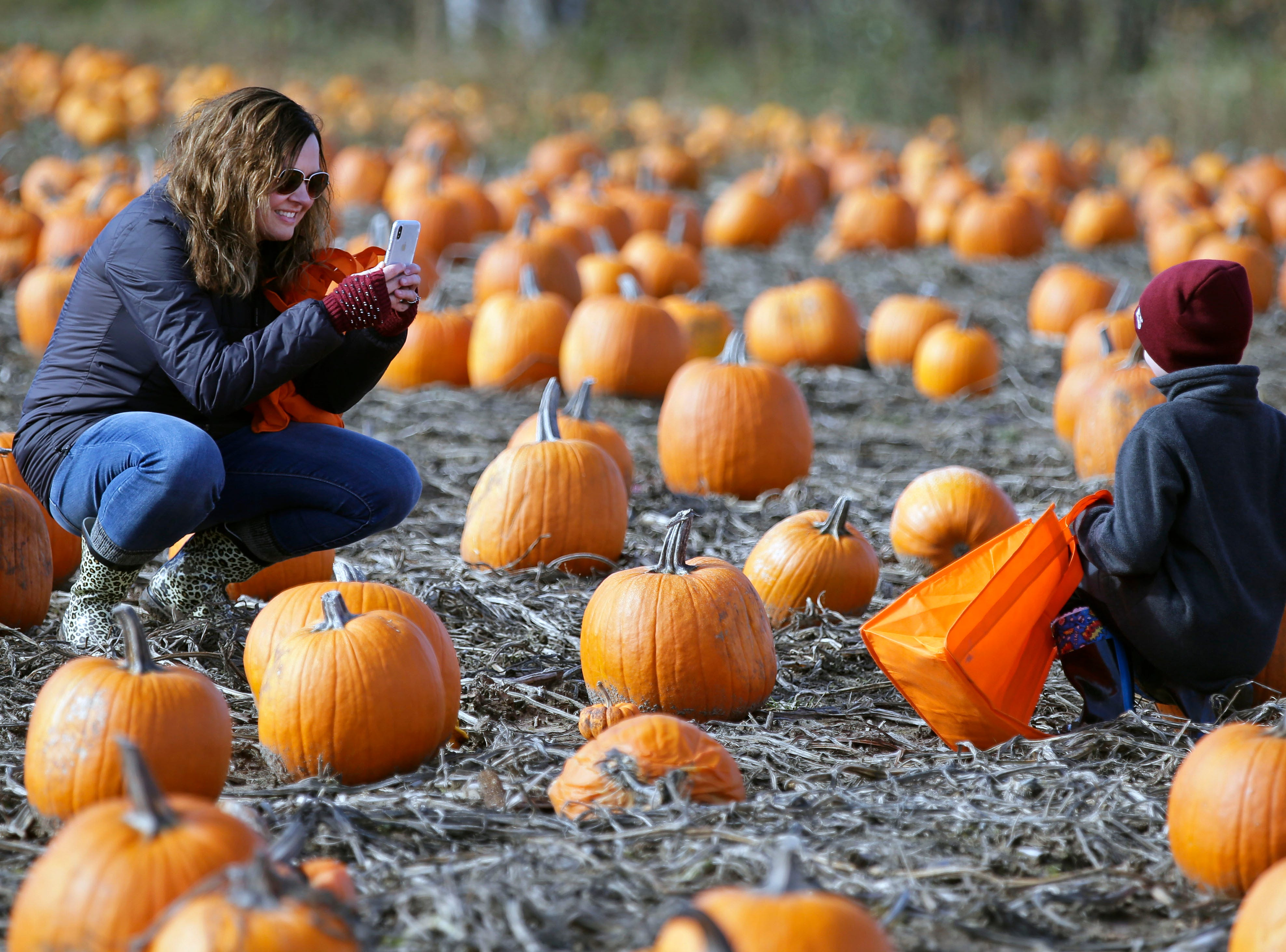 Carrie Mewton of Butte des Morts gets a photo of her son, Henry, as they pick pumpkins Sunday, October 21, 2018, at Cuff Farms in Hortonville, Wis.