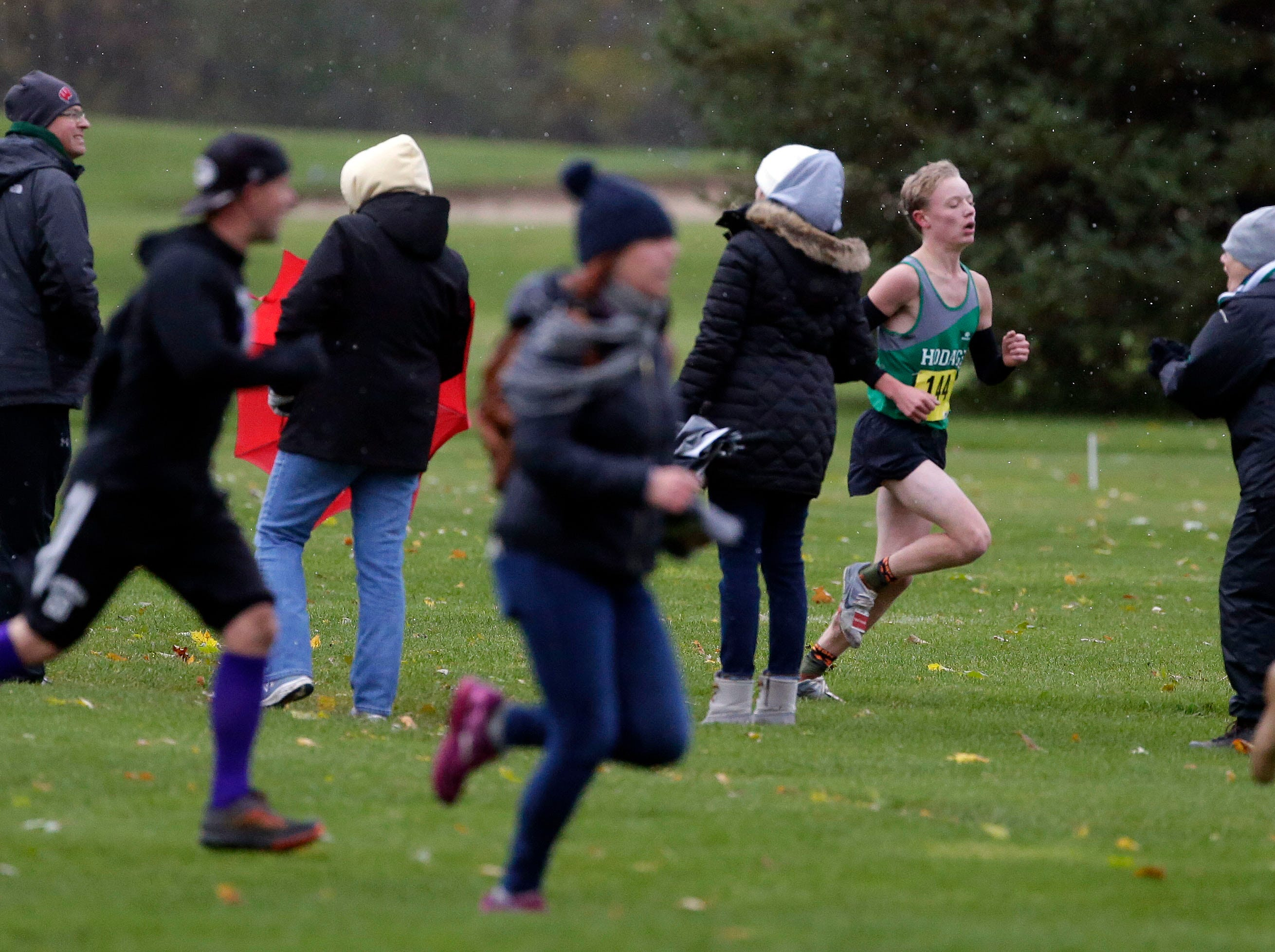 Fans rush along the course as runners near the finish during the WIAA Division 2 Freedom cross country sectional Saturday, October 20, 2018, at Irish Waters Golf Course in Freedom, Wis.