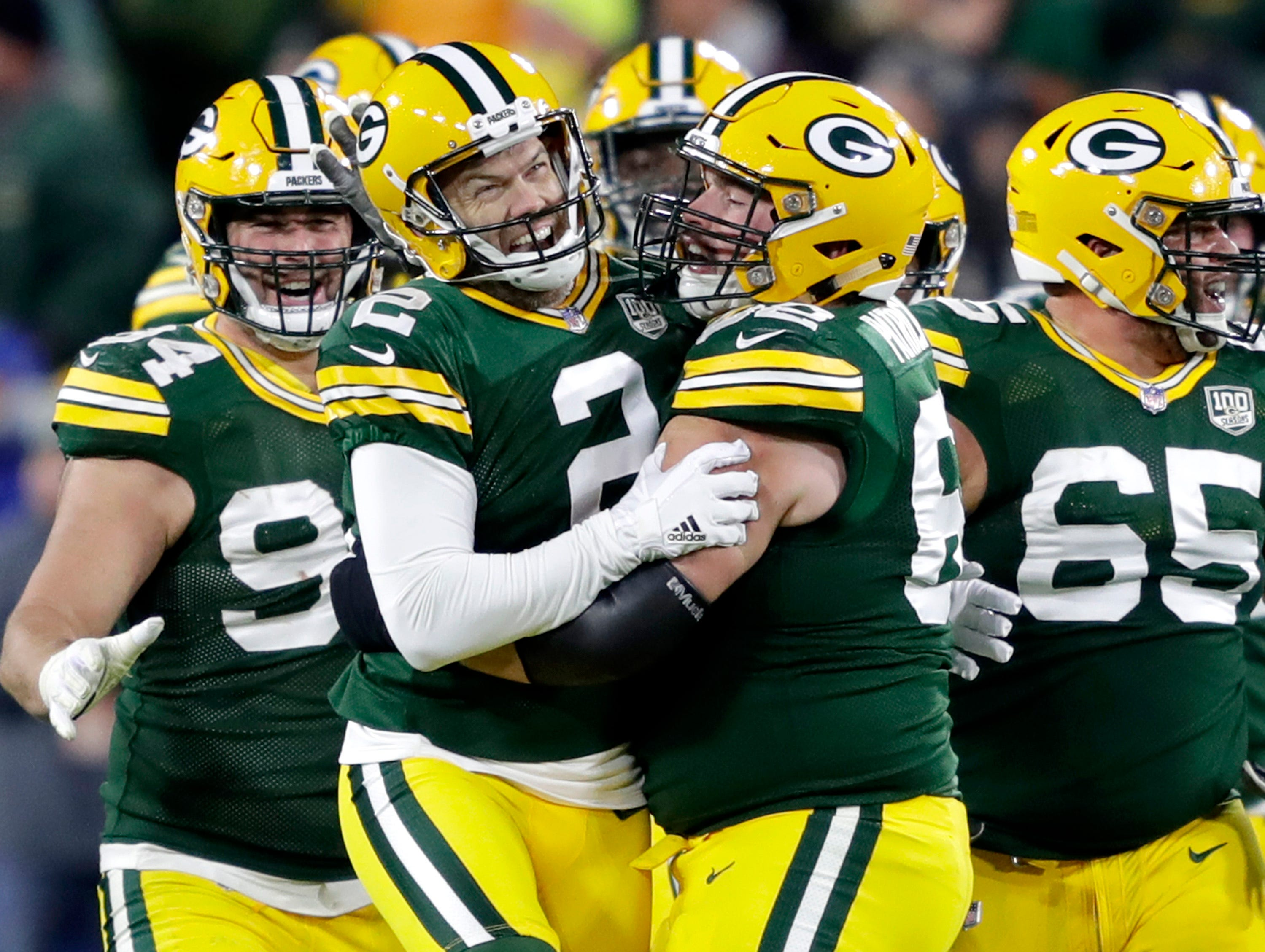 Green Bay Packers kicker Mason Crosby celebrates a game winning 27 yard field goal against the San Francisco 49ers on Monday, October 15, 2018, at Lambeau Field in Green Bay, Wis. The Packers won 33 to 30.