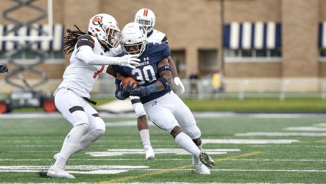 Monmouth running back Juwon Farri (30) was named the Big South Offensive Player of the Week.