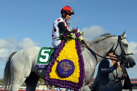 World Approval, with jockey John Velazquez,  makes his way into the winner's circle after capturing the Mile  during the 34th Breeders Cup world championships at Del Mar Thoroughbred Club in 2017.