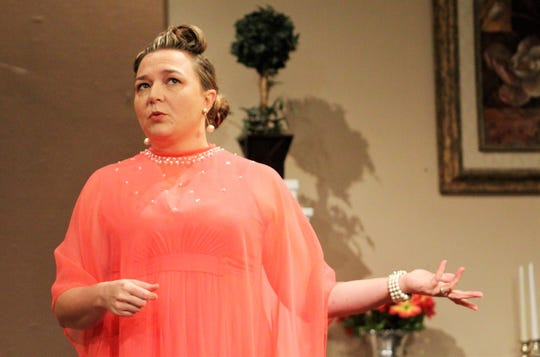 "Tiffany McAdams is Ruth Condomine, who hosts a seance at her home with her husband in Abilene Community Theatre's "" Blithe Spirit."""