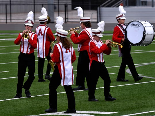 The Albany High School marching band performs during Monday's marching contest at Wylie High School.