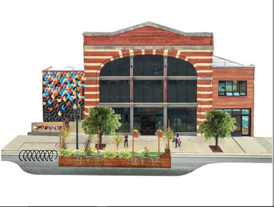 """A rendering of the proposed Natural Craft Innovation Hub by the Center for Craft, Creativity and Design. The project would allow for adaptive reuse of the center's property at 67 Broadway St. in Asheville, creating """"an urban craft innovation campus."""""""