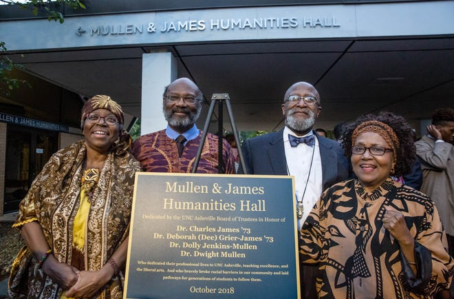 "On Friday, UNC Asheville named its humanities lecture hall for recently retired faculty members (from left) Deborah ""Dee"" Grier-James (English), Charles James (chemistry), and political scientists Dwight Mullen and Dolly Jenkins-Mullen. The four were hired in 1984."