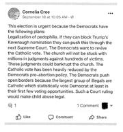This copy of a Facebook post by Cornelia Cree, until recently a member of the Haywood County Board of Elections, is taken from State Board of Elections papers.