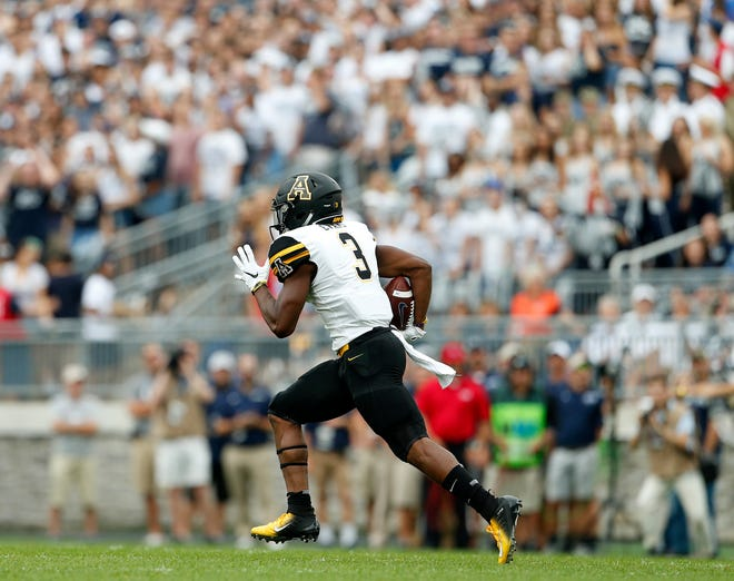 Appalachian State's Darrynton Evans during the first half of the Penn State game in State College, Pennsylvania, on Sept. 1, 2018.