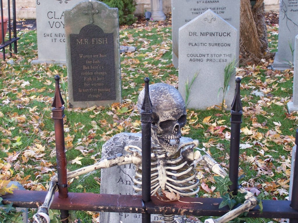 2015: A skeleton haunts the Kingsbury Cemetery in Corning.
