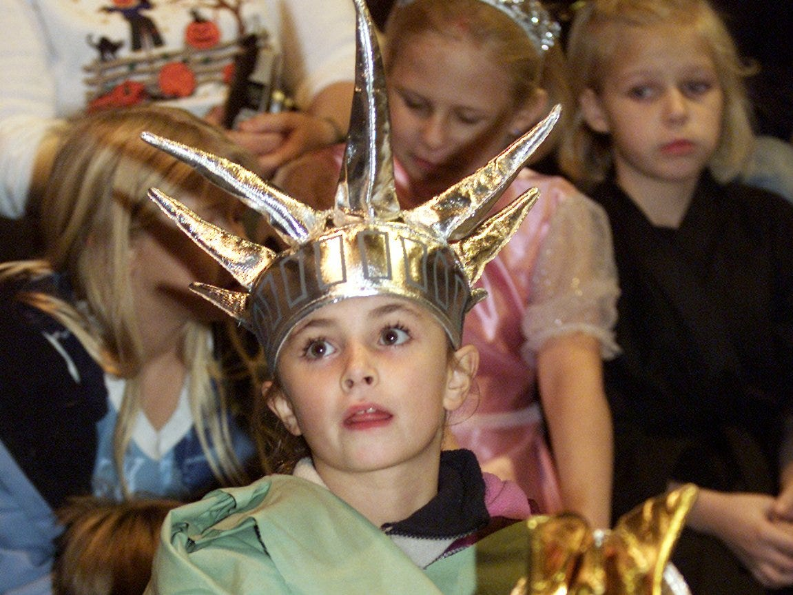 2003: Eight-year-old Logan Bicknell of Painted Post came to a Halloween costume contest Thursday night dressed as the Statue of Liberty. The contest, sponsored by the Painted Post Kiwanis Club, was at Craig Park in Painted Post.