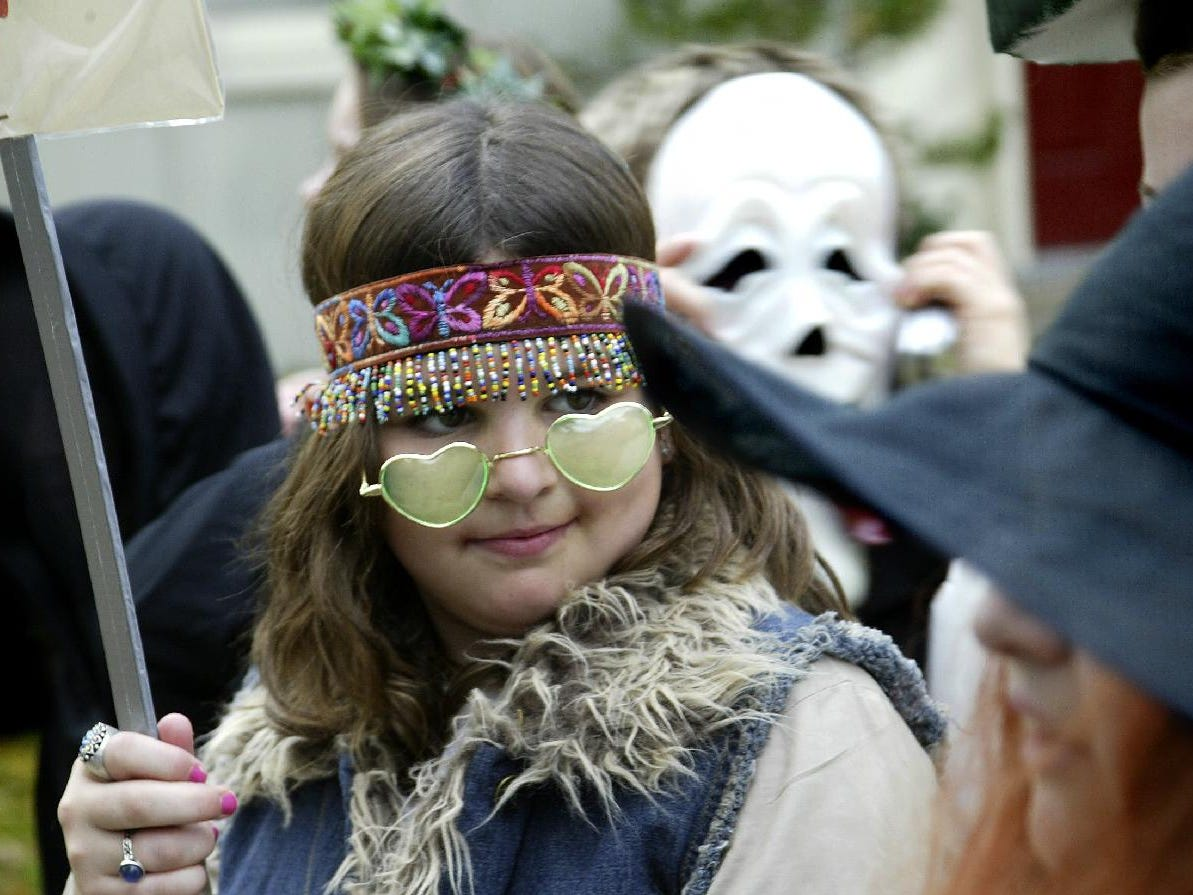2003: Mary Catherine Grogan, 10, during Thomas Jefferson Elementary 42nd annual Halloween parade, Friday.
