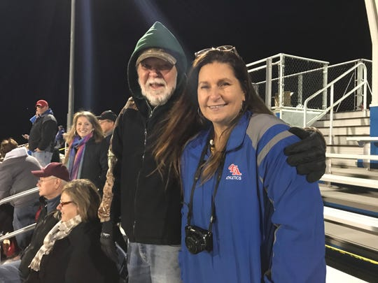 Bill Dorn and Laura Wasyln attend Owego Free Academy's varsity football game against Norwich High School in Owego on Oct. 19.