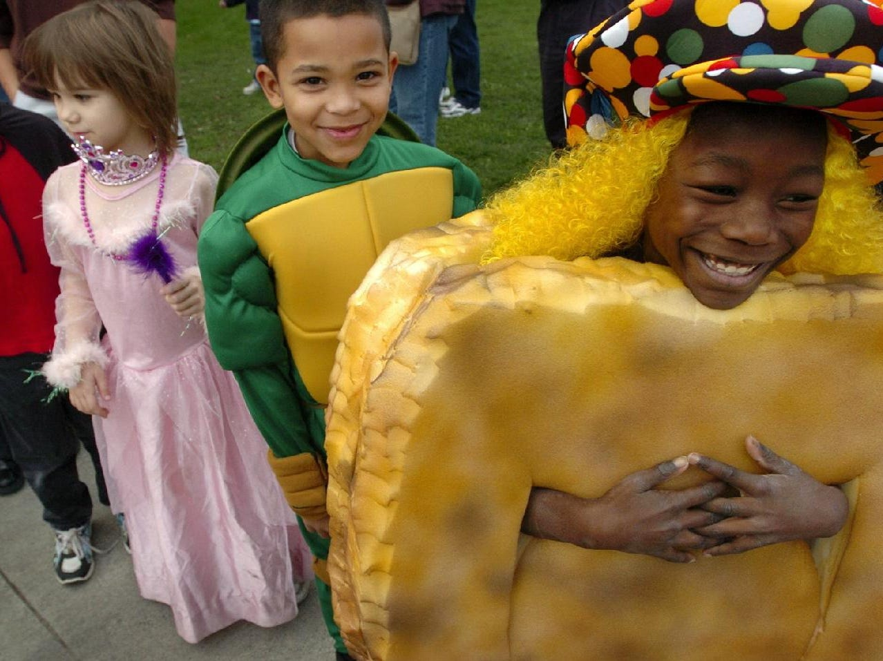 2004: Kassandra Jenkin, 7, right, dress as a Chicken McNugget, along with 2nd grade classmates, from left, Dylan Rogers, Megan Walter, and Dominick Easterling are ready for their Halloween parade Friday at Woodrow Wilson Elementary School in Binghamton.