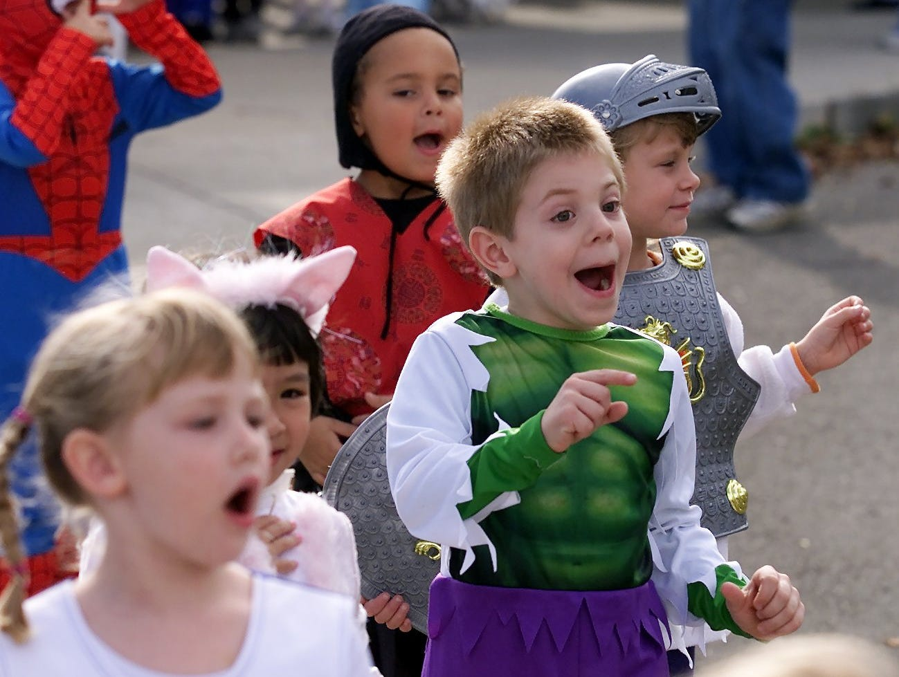 2003: Cohen Elementary School students in Elmira Heights look for friendly faces among spectators as they begin their Halloween costume parade Friday outside the school, an annual ritual at many schools throughout the Twin Tiers.
