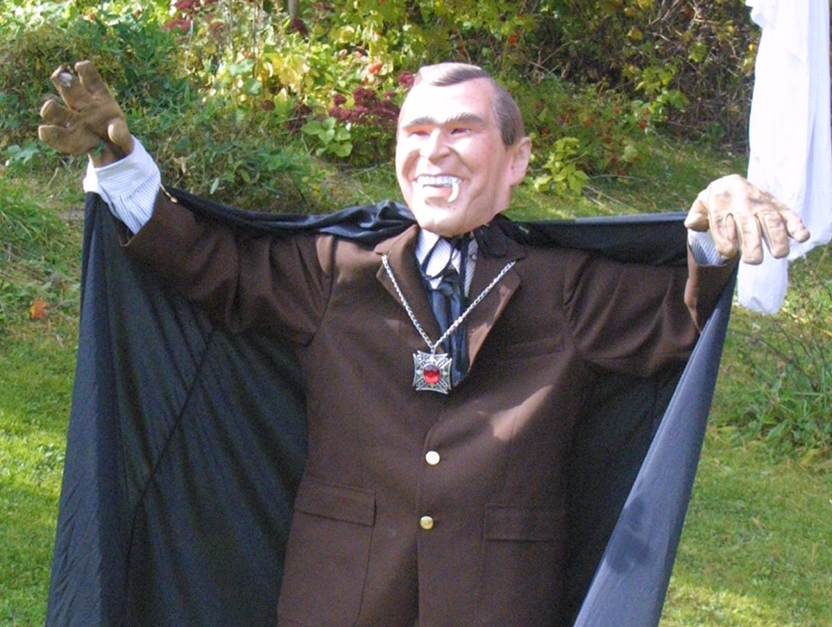 2004: Ron Havens linked Halloween with Election Day by putting John Franken-Kerry, above, and Count George W. Bush-ula in his yard on Ridge Road in the town of Catharine.