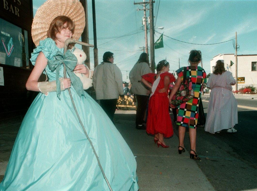 1997: Ten-year-old Jessica Gould, dressed as Little Bo Peep, at the Halloween Parade at Clinton and Glenwood Streets in Binghamton Saturday.