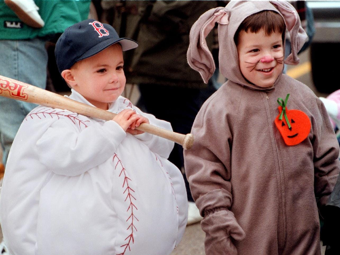 1997: Sean Barrett, 3, and his friend Christopher Carlini, 3, both of Endwell, perpare to march in the annual Town of Union Halloween parade in Endwell Sunday afternoon.