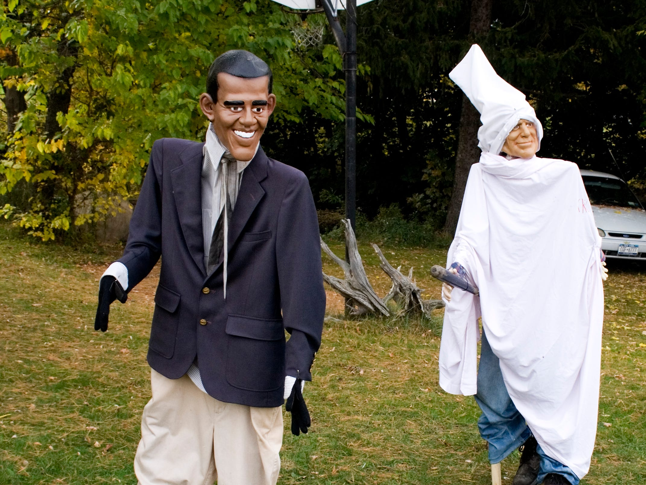 2008: Ron Havens, who lives near Odessa, knew this Halloween display of presidential candidate Barack Obama being chased by a hooded John McCain would stir up some controversy. The display is supposed to be a protest against McCain's treatment of Obama, Havens said.
