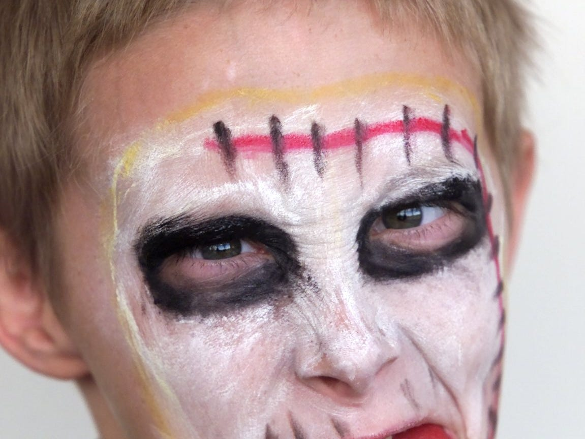 2002: Chad Crosbie, 12, of Elmira makes his scariest face while painted up as a cross between Frankenstein and a ghoul at Tanglewood Nature Center's Haunted Happenings Halloween.