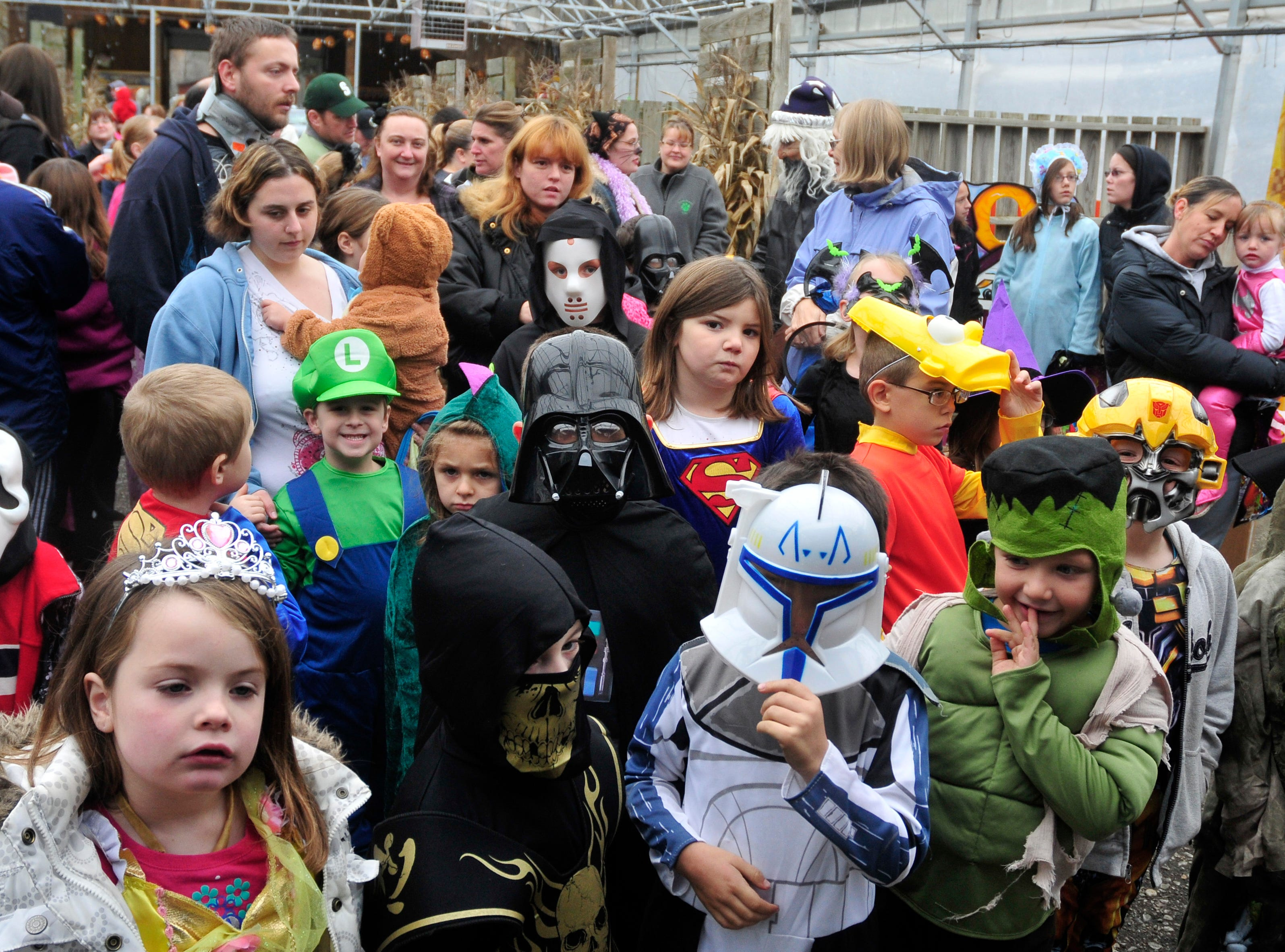 2011: Kids in the five to six costume contest category line up to be judged during Bradley Farms Halloween festival.