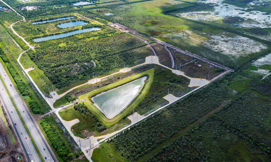 This aerial photo shows the proposed Heritage Lakes of West Melbourne site, looking southward. Interstate 95 is visible at the bottom left corner.